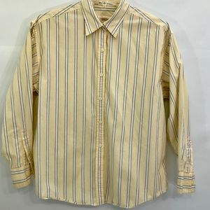 Talbots Button Front Blouse Striped Medium Petites